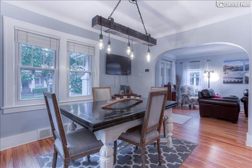 Dining room flows seamlessly into the living