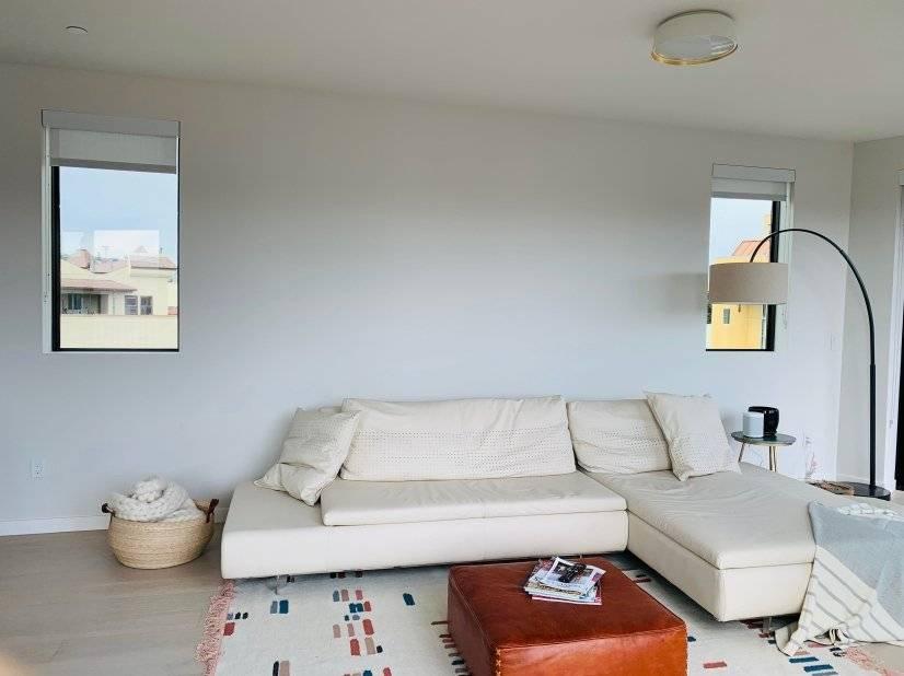 Custom white italian leather sofa