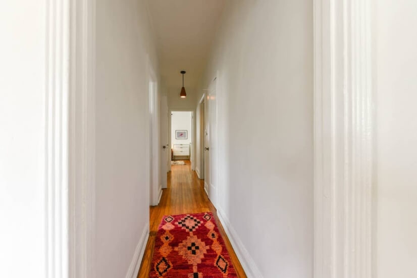 Hallway with dimmable lights