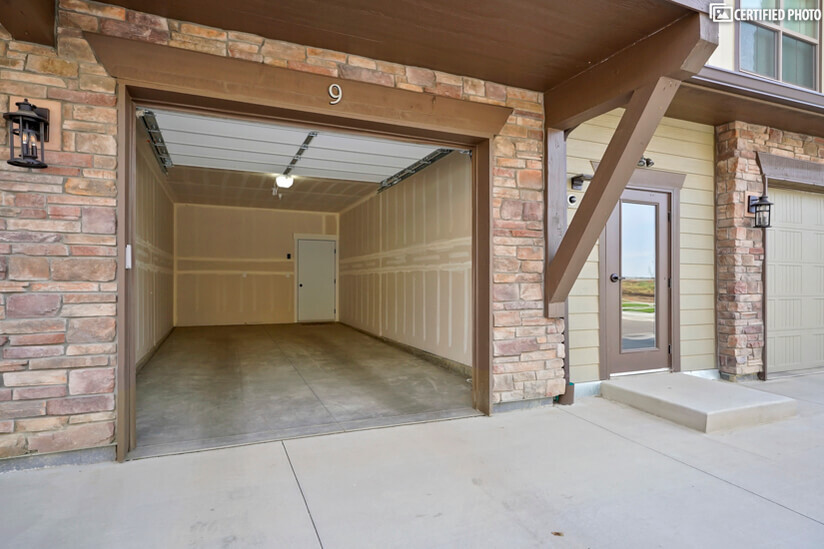 Oversized garage can easily fit a large SUV or pickup truck