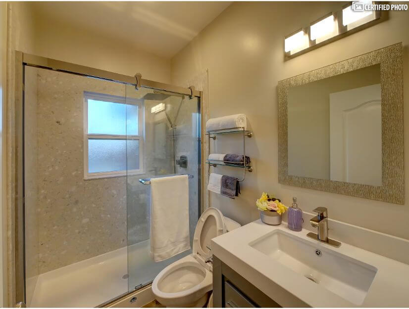 Suite A - Full size bathroom with new GOSHE shower system.