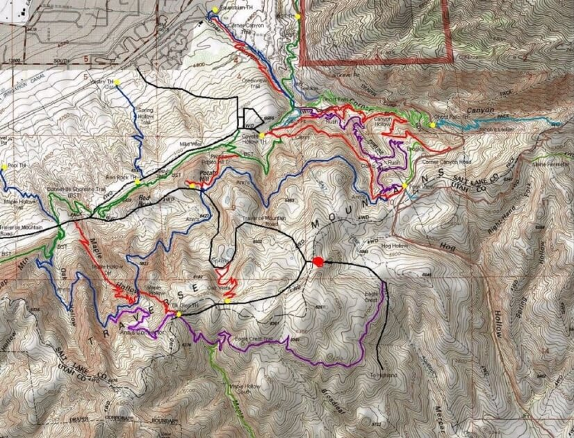Mountain bike trails (red dot where home is located)