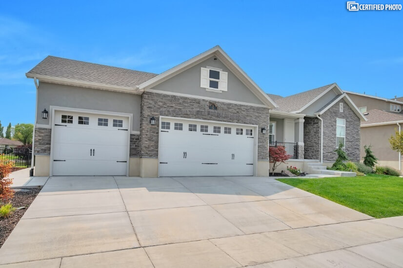 Front of House with 3 Car Garage
