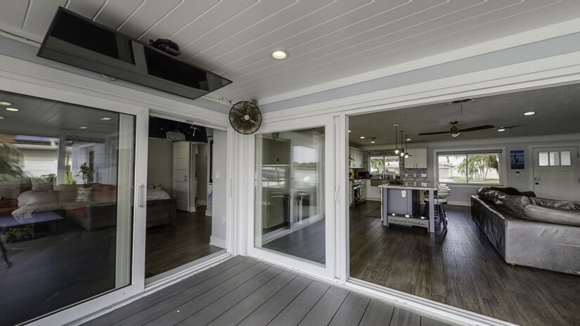 """50"""" TV on back patio"""