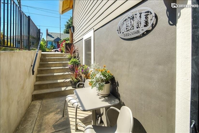 Welcoming patio outside the basement apartment
