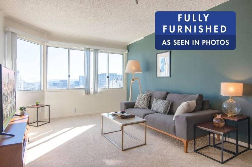 Furnished, Sunny Lower Nob Hill 1BR, Gym