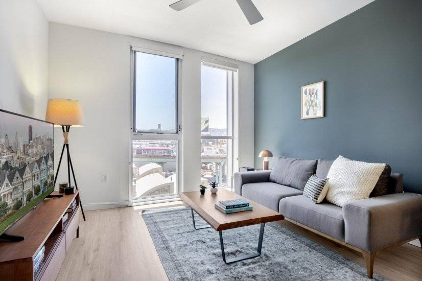 Furnished, Smart SoMa 1BR w/ Gym, W/D