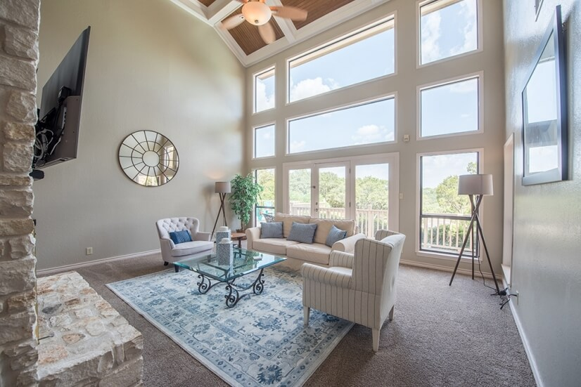 Spectacular Two Story Living Room with Hill C