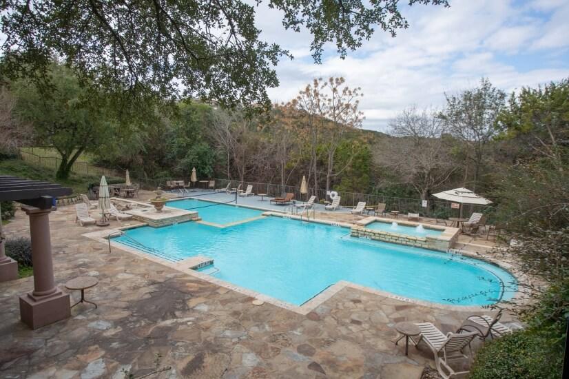 Luxury resort-style pool overlooking the hills