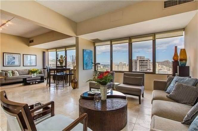 Living room with view of downtown Waikiki