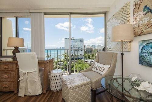 Living room seating with ocean view