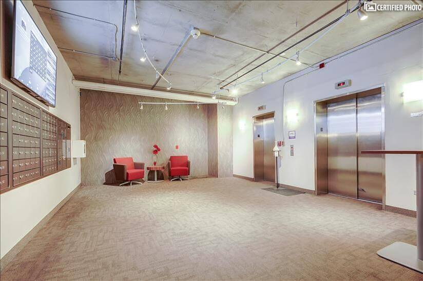 Elevator Lobby, dual banks for access to all floors