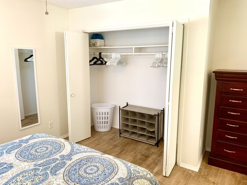 Plenty of storage in the bedroom.