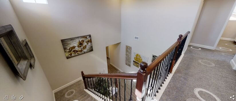 gorgeous inviting entry way with half bathroo