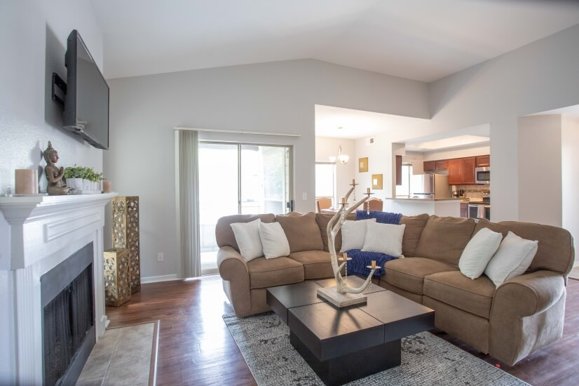 Check out our living room and kitchen!