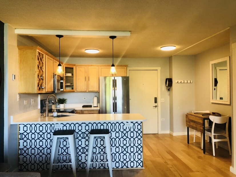 Fully refinished kitchen and dining room.
