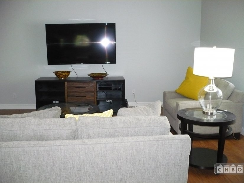 Living room with 60 inch TV