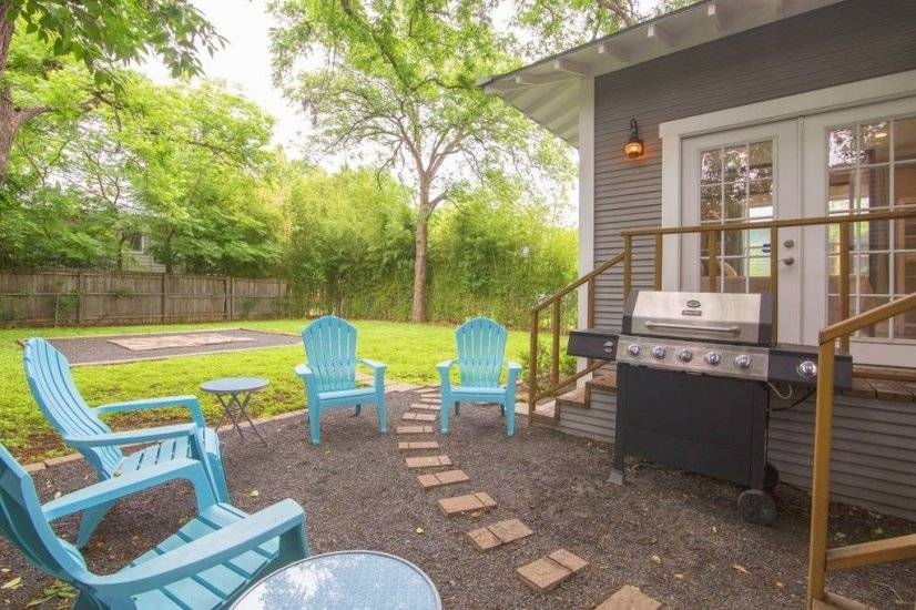 Backyard with grill and sitting area