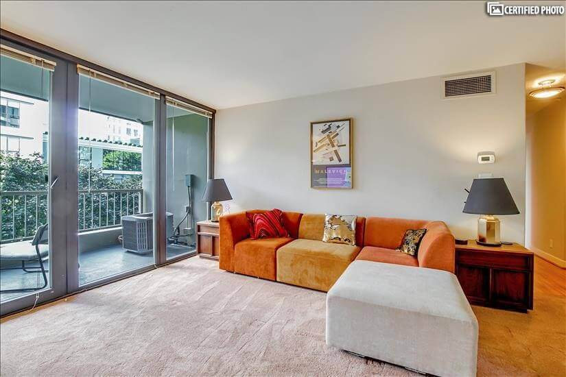 Plush new high-end carpet, new sectional chaise couch