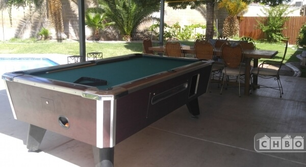 Pool table on patio