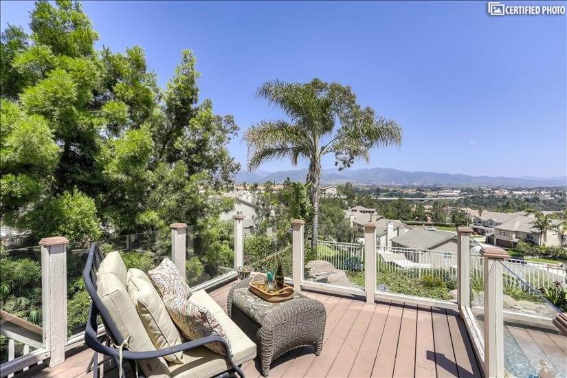 Deck off the the game room overlooking the city & mountains.