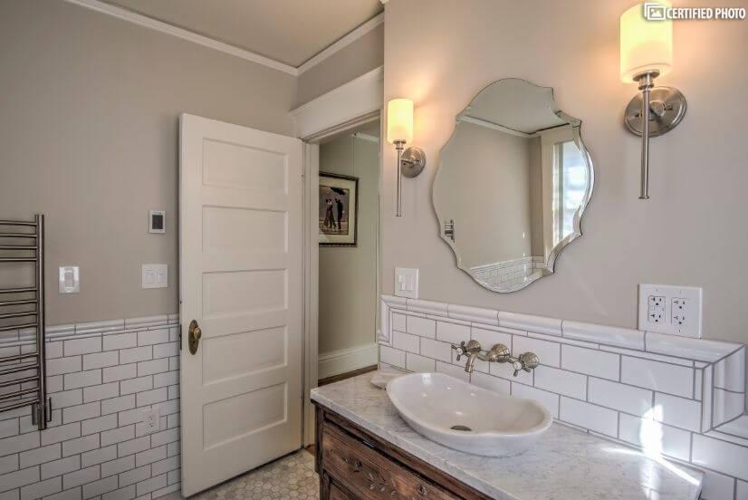 Antique vanity in the bathroom