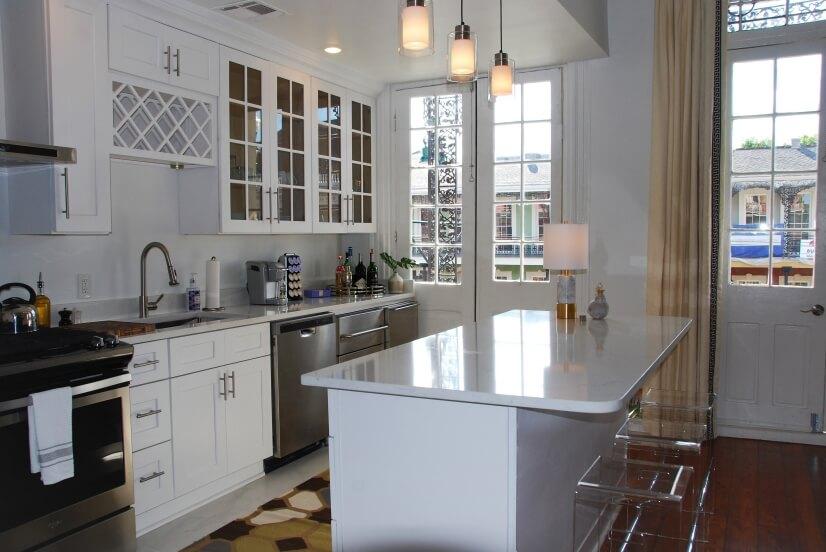 White Contemporary Kitchen, Marble Tile, Quartz Counter Tops