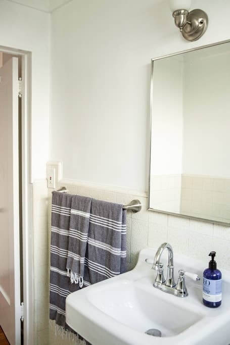 Bathroom with eco-friendly soaps