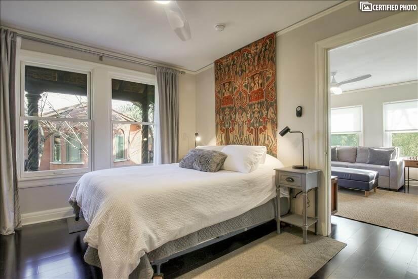 Queen sized bed in the en-suite bedroom.