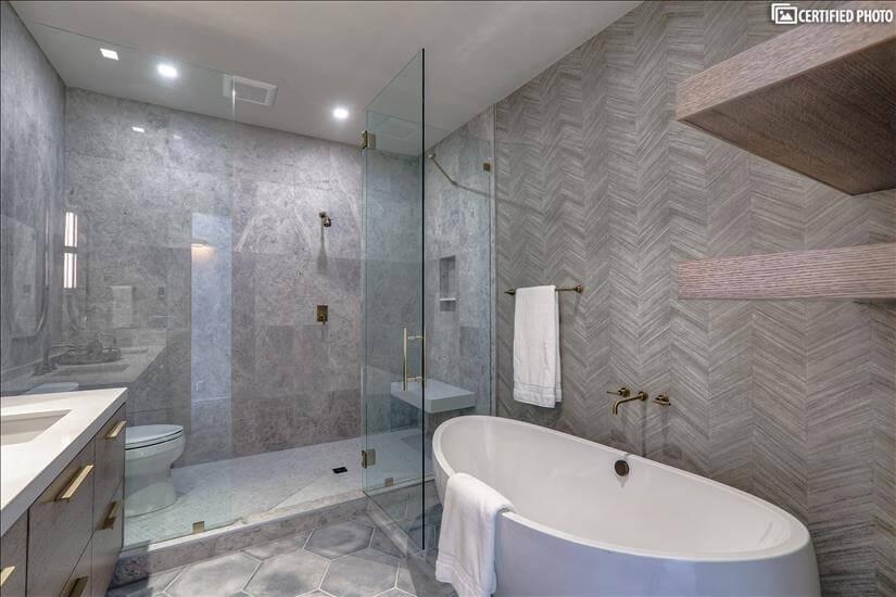 Master bathroom porcelain soaking tub!