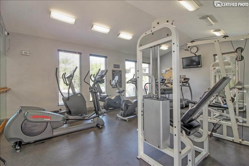 Get fit with on site fitness room 24/7