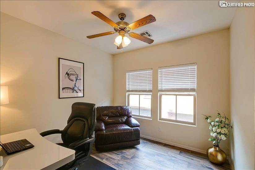 Office and Reading room with leather recliner