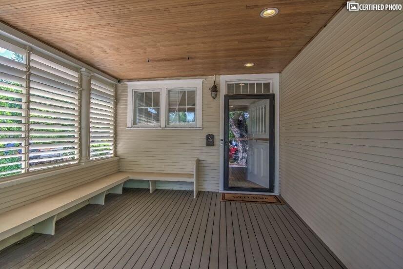 Wide open patio to the front door