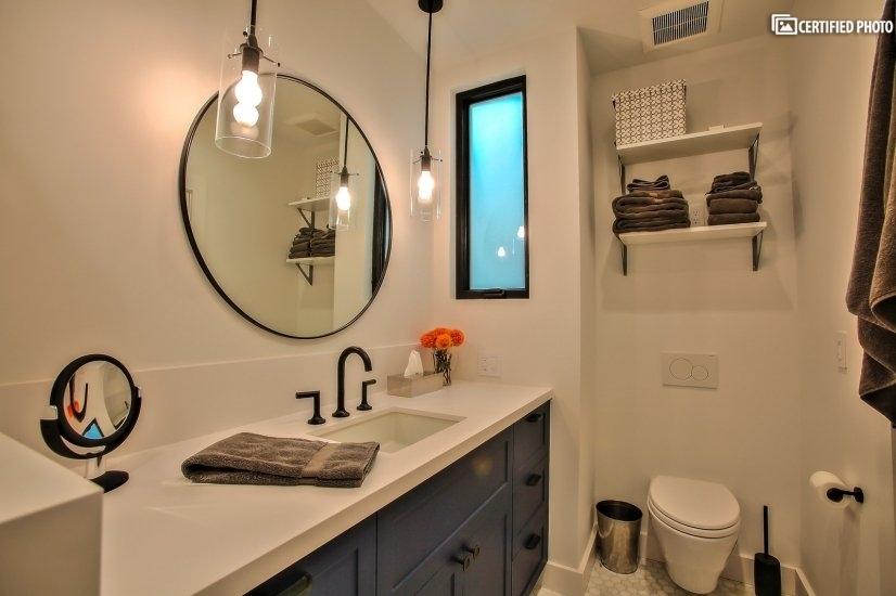 Bath includes ample storage