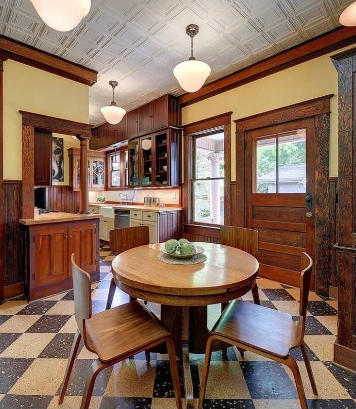 Cork flooring and beautiful detailed ceiling