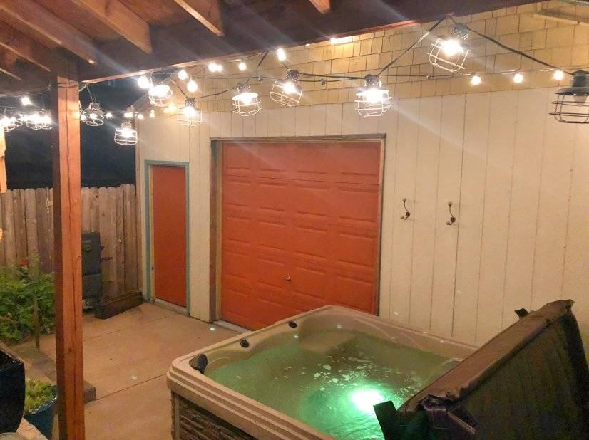 back yard with hot tub