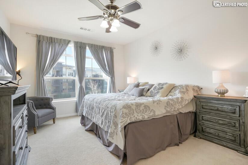 Master bedroom with premium king mattress.