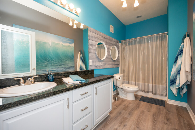 Master bath with original painting