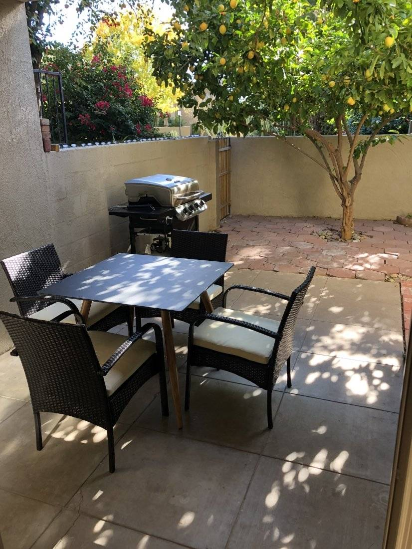 Covered patio with grill and lemon tree!