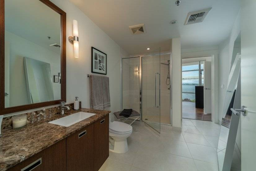 Guest bath with large shower and private bedr