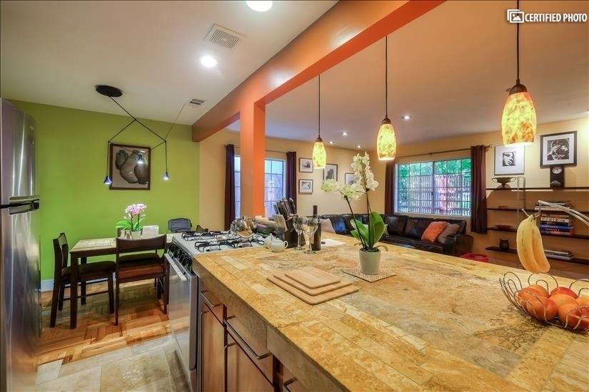 Travertine Counter toward Living Room