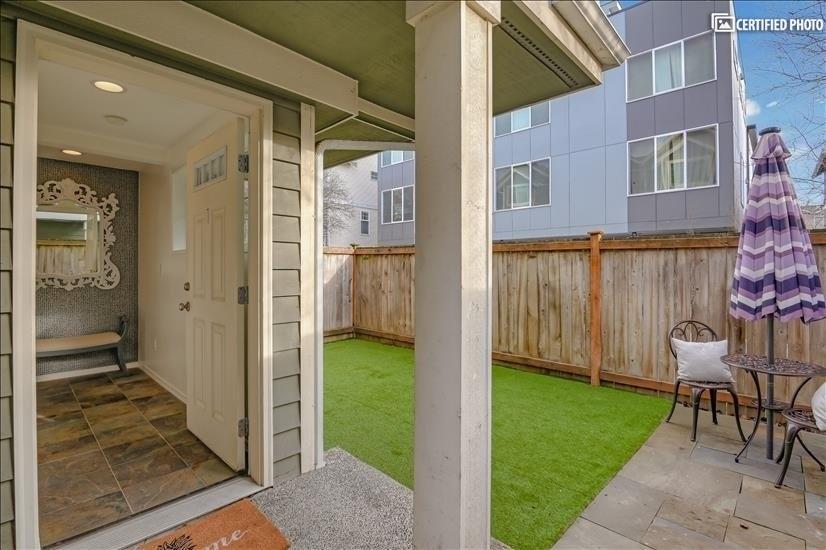 front door & yard