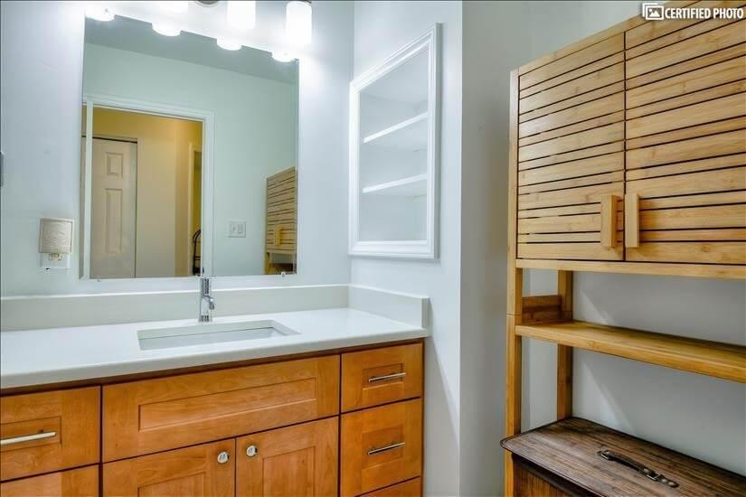 Extra storage in second full bathroom