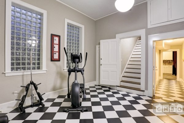 Exercise room and stairs to Unit B