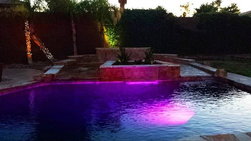 Waterfall feature with LED lights for ambiance