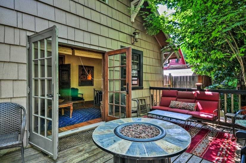 Private back deck with fire pit