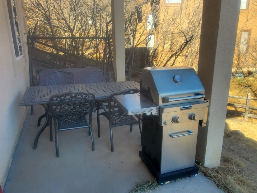 BBQ, Table, Swing & Patio Area