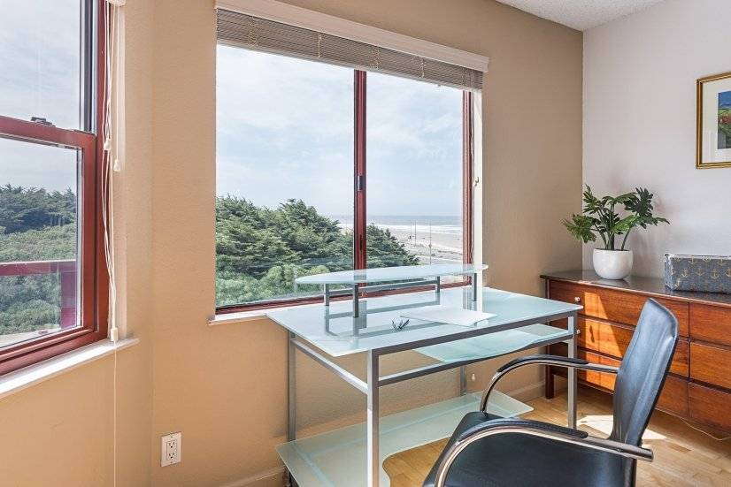 Desk overlooking the OCEAN and Golden gate park windmill