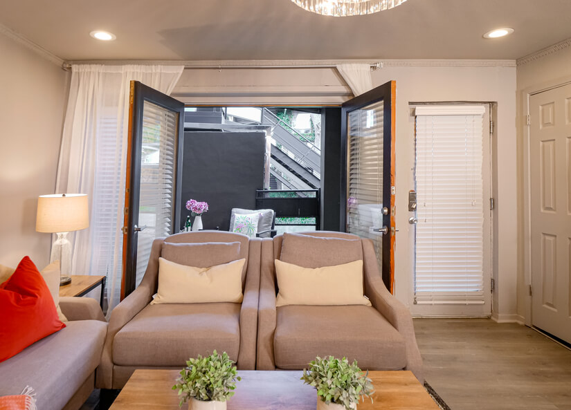 Living room french doors to private patio
