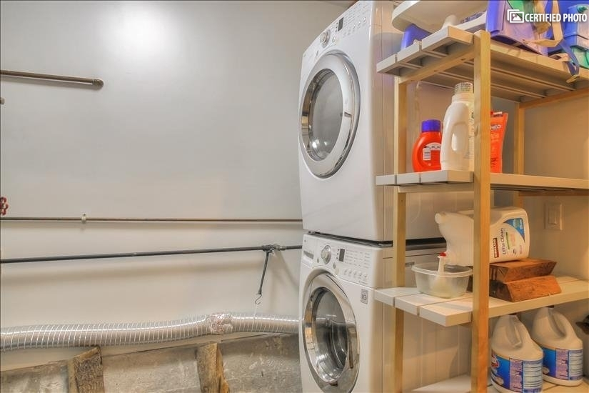 Top-rated laundry set in the basement.